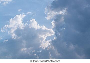 לבן, נוצי, עננים, ב, ה, שמיים כחולים