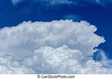 לבן, נוצי, עננים, ב, ה, שמיים כחולים, רקע