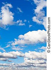 לבן, נוצי, עננים, ב, שמיים כחולים