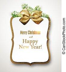 לבן, נייר, כרטיס של מתנה, עם, אשוחית, twigs.