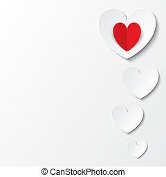 לבן, נייר, לבבות, יום של ולנטיינים, כרטיס, בלבן