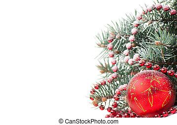 לבן, עץ, קישוטים, ענף, חג המולד