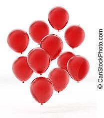 לבן, רקע., בלונים, 3d, אדום, הפרד, לטוס, דוגמה