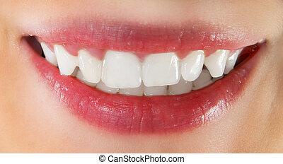 לבן, שיניים בריאים