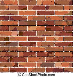 לבנה, wall., ישן, texture., seamless