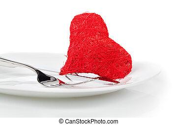 לב אדום, עם, fork., מושג, דמות, ל, ולנטיין, dinner/love, food/love, בישול, וכו'., העתק, space.