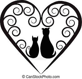 לב, אהוב, כלב, חתול, עצב, לוגו