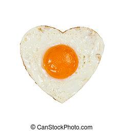 לב, ביצים, טגן, עקרון