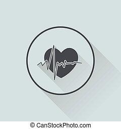 לב, דירה, wihh, ארוך, עצב, צל, איקון
