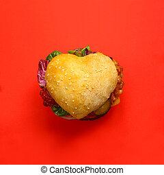 לב, המבורגר, עצב
