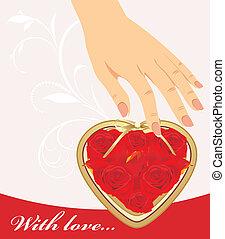 לב, ורדים, יד נקבה