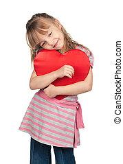 לב, ילדה קטנה, אדום