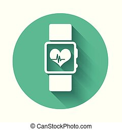 לב מרביץ, להראות, לבן, הסתכל, הפרד, דוגמה, button., shadow., הערך, וקטור, ירוק, ארוך, כושר גופני, הסתובב, concept., אפליקציה, חכם, איקון