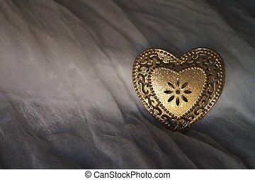 לב, משי, מתכת, רקע, זהוב