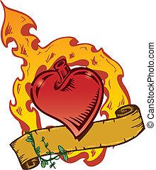 לב, סיגנון, קיעקוע, וקטור, flamming, דגל