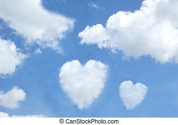 לב עיצב, עננים, ב, ה, שמיים