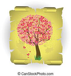 לב, עץ, ב, ישן, נייר