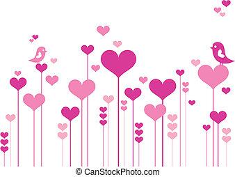 לב, פרחים, עם, צפרים