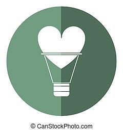לב, צל, אהוב, airballon, רומנטי