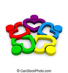 לב, קבץ, אנשים, -, שיתוף פעולה, 5