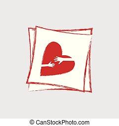 לב, קוה, אהוב, logo., hands., דאג