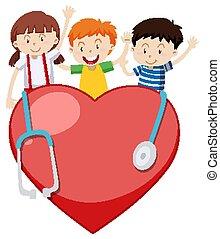 לב, שלושה, שמח, גדול, ילדים, סטטוסקופ