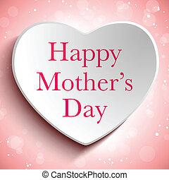 לב, שמח, יום, רקע, אמא