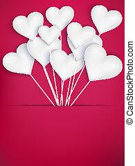 לב, 10, ולנטיינים, הכנסה לכל מניה, balloons., יום