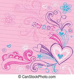 לב, sketchy, וקטור, אהוב, doodles