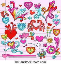 לב, vectors, פסיכאדלי, doodles