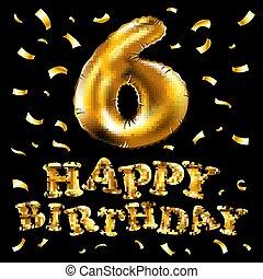 לגזוז, זהב, מספר, קישוט, עצב, מוכן, פונט, מפלגה., שלך, הליום, השתמש, אלפבית, balloon, 6, ;, 3d, אוסף, חתונה, שביל, יחיד, balloon., עשה, מבריק, הבלט, מציאותי, וקטור, יום הולדת