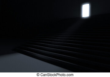 להוביל, צעדים, חושך, אור