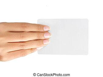 להחזיק יד, כרטיס ביקור, טופס