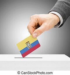 להכניס, קופסה, מושג, -, להצביע, דגלל, זכר, קול, אקוואדור