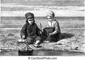 להסתכל, ילדים, בציר, השקה, קטן, התגלה, סירה, engraving.