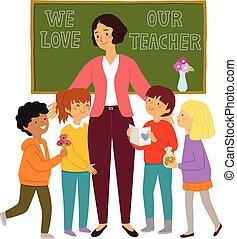 להעריך, שלהם, מורה, ילדים