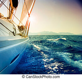 להפליג, נגד, יאכטה, טון, סאפיה, sunset., sailboat.