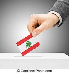 להצביע, מושג, -, זכר, להכניס, דגלל, לתוך, קלפי, -, לבנון