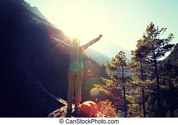 להריע, אישה צעירה, מטייל, ידיים פתוחות, ל, ה, עלית שמש, ב, ה, himalaya, הרים