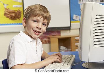 להשתמש במחשב, זה, תלמיד, סוג