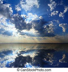להשתקף, עננים, אגם, אור השמש