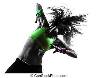 להתאמן, צללית, לרקוד, אישה, כושר גופני, zumba