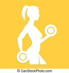 לוגו, אישה, צללית, כושר גופני
