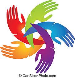 לוגו, אפליקציה, צבעים, בהיר, ידיים