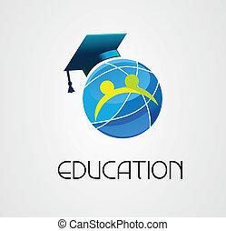 לוגו, גלובלי, וקטור, חינוך