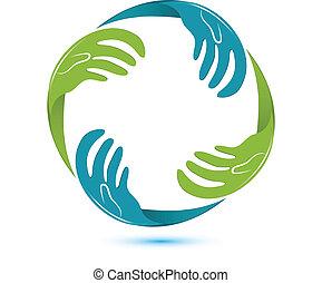 לוגו, וקטור, ידיים של עסק
