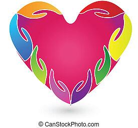לוגו, ידיים, לב