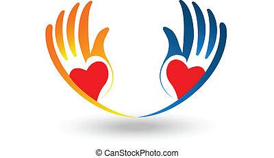 לוגו, לב, וקטור, מלא תקוה, ידיים