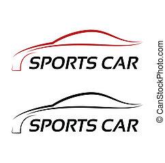 לוגו, ספורט, calligraphic, מכונית