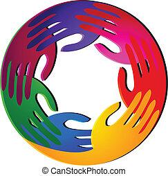 לוגו, צבעים, שיתוף פעולה, בהיר, ידיים